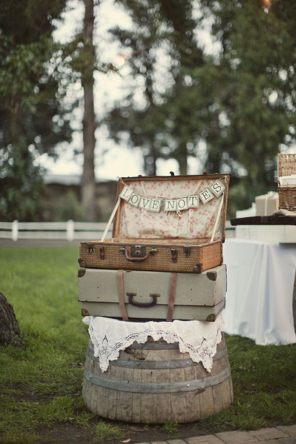 Chic Alternative to collecting guests' sentiments - card collection suitcase