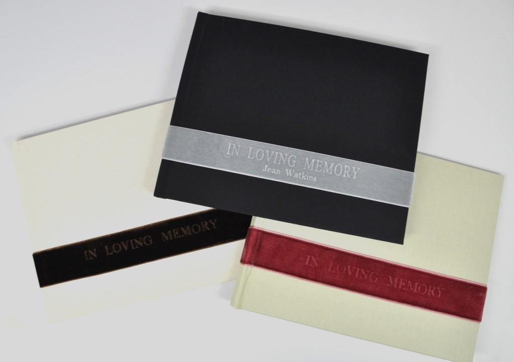 Black Linen (center) - shown on Velvet Custom In Loving Memory Guest Book