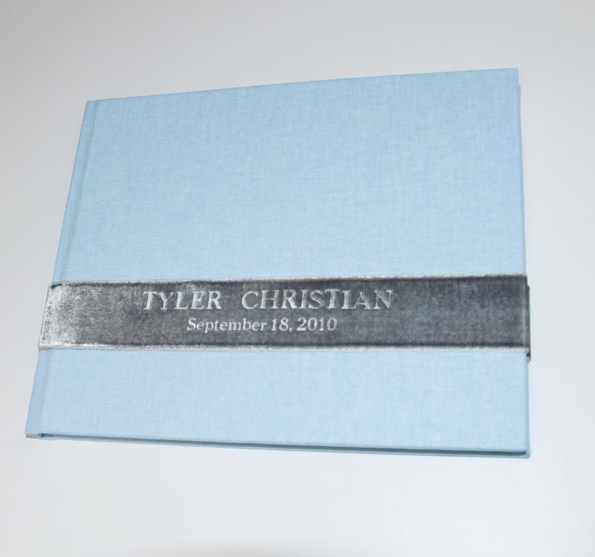 Baby Blue Linen - shown with custom velvet ribbon sash guest book