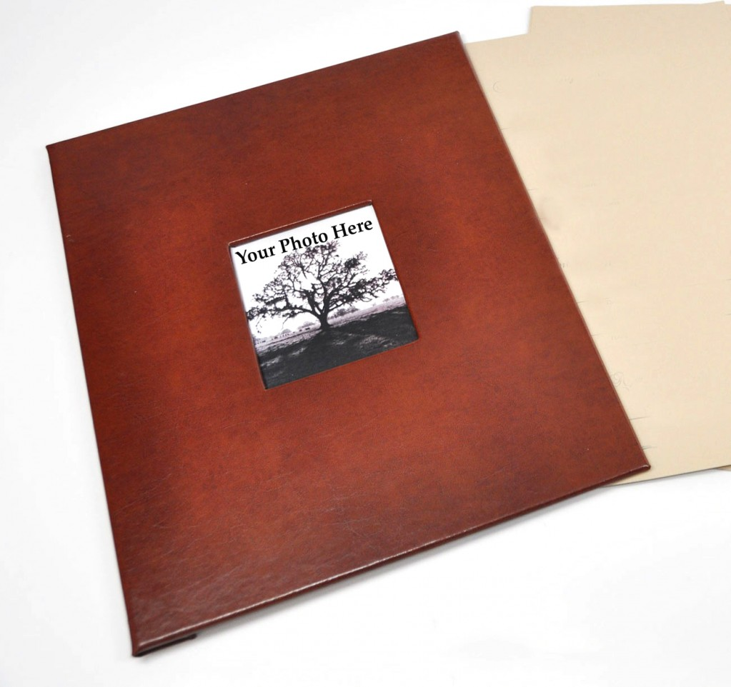 Rich Brown Leather - shown with Memorial Guest Book