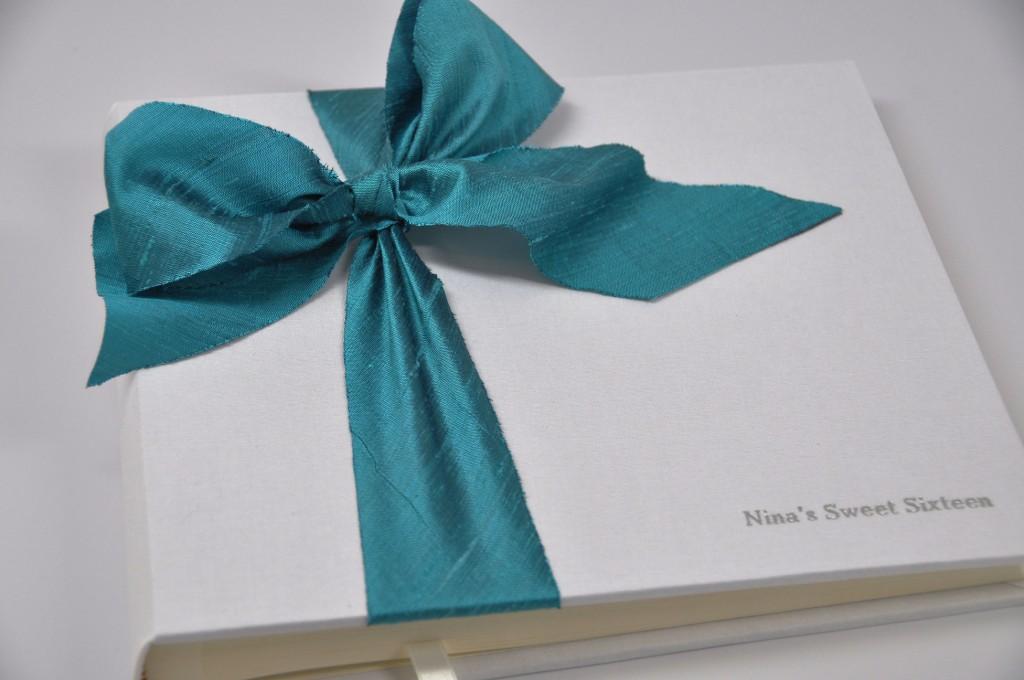 White Linen - shown with Silk Dupioni Bow Custom Photo Album