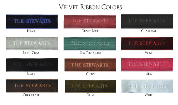 Embossed Velvet Ribbon Colors