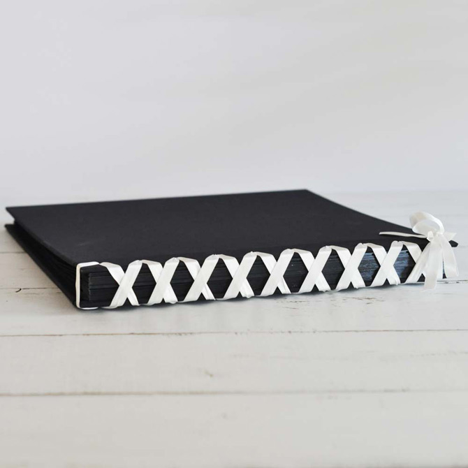 Ribon Laced Album with Black Pages and Black Cover