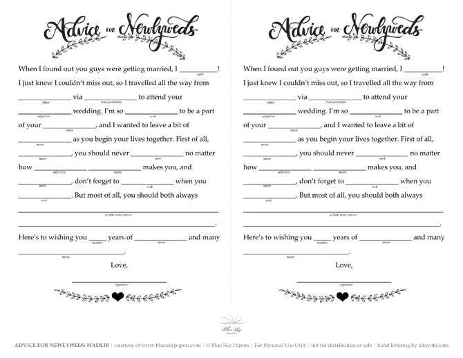 image relating to Printable Mad Libs for Adults Pdf named Totally free Marriage ceremony Nuts Libs Printable - The Blue Sky Papers Blog site