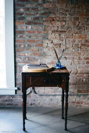 Industrial Inspired Rustic Leather Wedding Guest Book | photo by Tiffani Jones