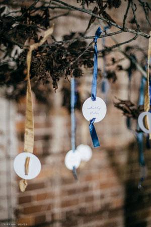Escort Card Tree Display - Industrial Inspired Rustic Leather Wedding | photo by Tiffani Jones