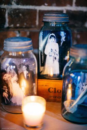 Family Wedding Portraits in Mason Jars | photo by Tiffani Jones