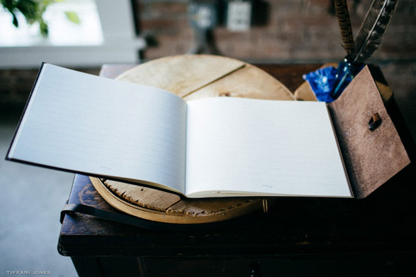 Leather Guest Book with Lined Pages | photo by Tiffani Jones