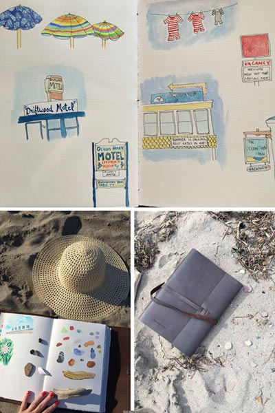 Travel Sketchbook for a road trip to the beach - handmade by Blue Sky Papers