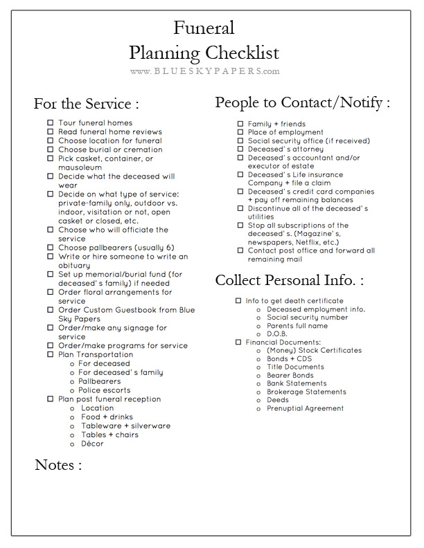 Selective image with regard to printable funeral planning checklist