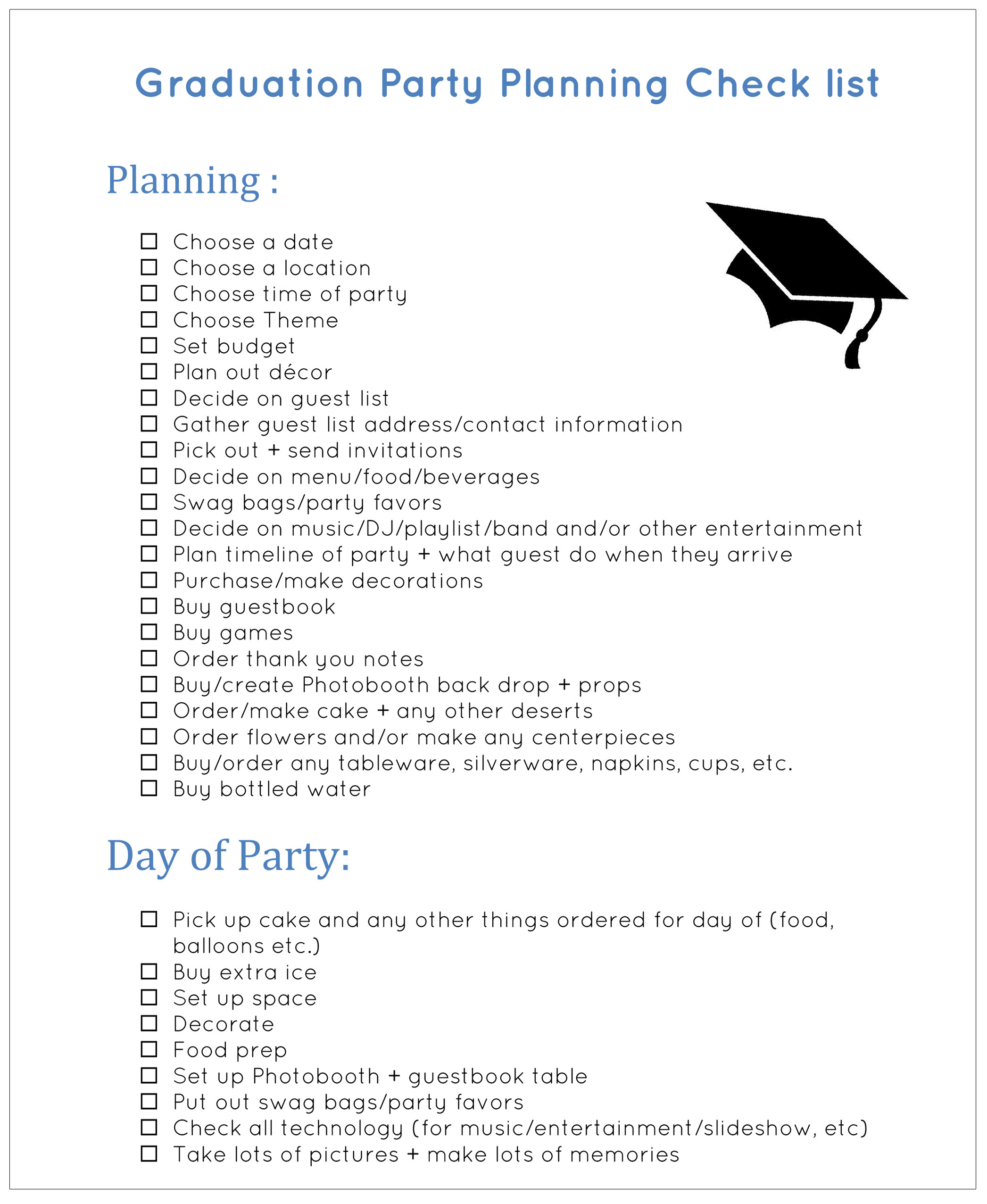 Graduation party planner high school graduation party for Graduation party checklist template
