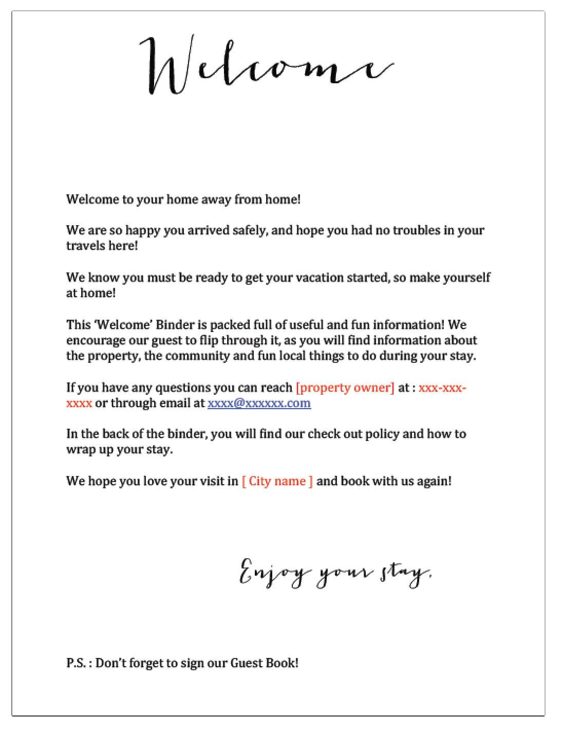 Airbnb Welcome Letter 28 Images 30 Best Airbnb Ideas