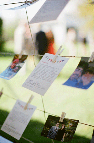 Wedding Guest Messages Pinned to a Clothes Line