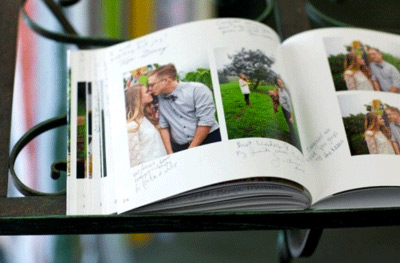 Idea showing photo book as a wedding guest book