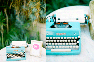 Wedding guest book table with old Royal typewriter