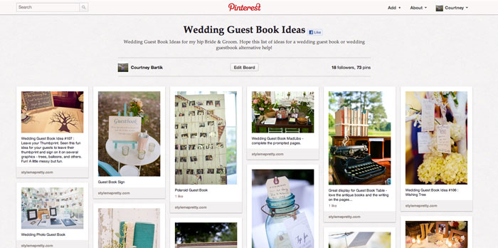 Blue Sky Paper's Pinterest Board for Wedding Guest Book Ideas