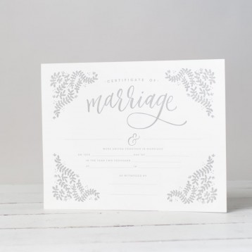 Letterpress Marriage Certificate from Blue Sky Papers