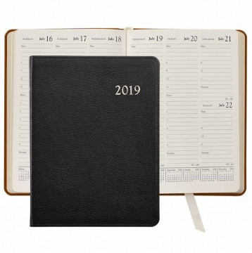 Leather Desk Diary 2019 - Black Goatskin Leather- from Blue Sky Papers
