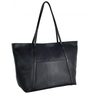 Jessica Python Leather Tote - Black - Blue Sky Papers