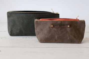 Waxed Canvas Pouch - Peg and Awl Leather detail