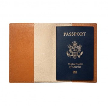 Leather Passport Holder- Interior View- from Blue Sky Papers
