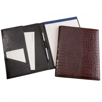 Brown Croco Leather Portfolio - Blue Sky Papers