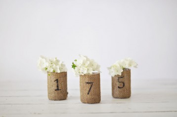 Burlap Votive Table Numbers