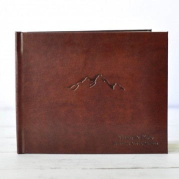 Cabin Guest Book - Rich Brown leather with Black embossing - by Blue Sky Papers