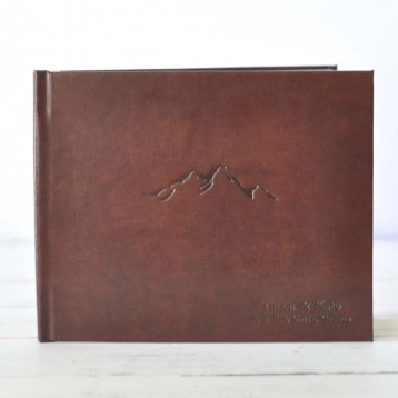 Leather Cabin Guest Book - Mountain House Guest Book, Black on Rich Brown Leather