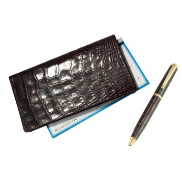 Leather Checkbook Cover - Brown Croco