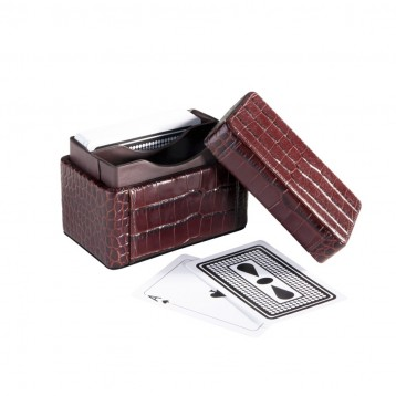 Play Card Holder - Brown Croco Leather- from Blue Sky Papers