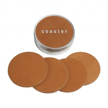 Custom Coaster Set - British Tan Leather