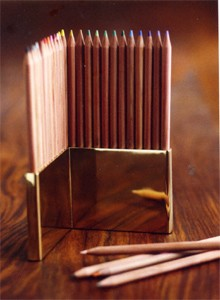 Colored Pencils with Brass Pencil Holder