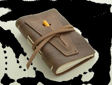 Rustic Leather Golf Log w/ Pocket - Dark Brown