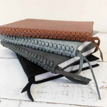 Braided Leather Spine Journal - unique design - by Blue Sky Papers