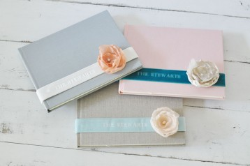 Personalized Velvet Ribbon & Silk Flower Custom Book- Many color options to choose from- by Blue Sky Papers