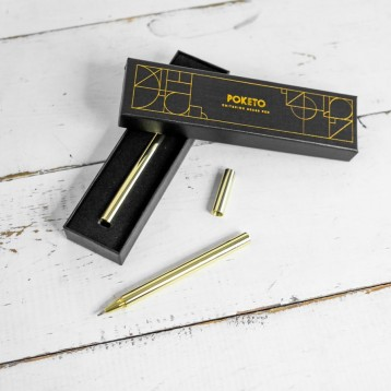 Poketo Criterion Brass Pen in Box - Beautiful gold foil gift box - from Blue Sky Papers