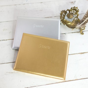 Metallic Leatherette Guest Books - from Blue Sky Papers