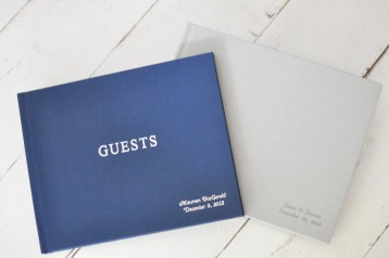 Guest Sign In Book - Navy Linen & Light Gray linen