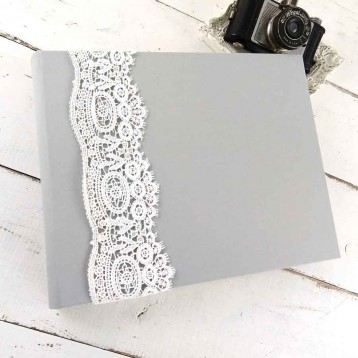 French Lace Custom Book - Light Gray linen, 9x12 horizontal album - Blue Sky Papers