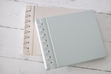 Fresh Ribbon Bound Photo Album- Seafoam satin and Natural linen- from Blue Sky Papers