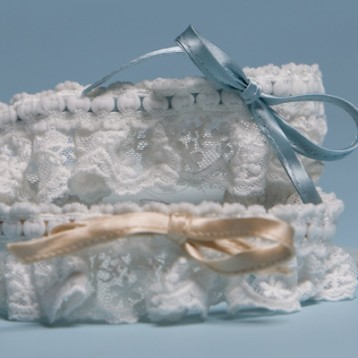 lace garters with silk ribbon - only champagne available