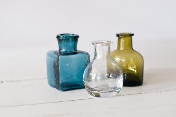 Glass Inkwell Trio
