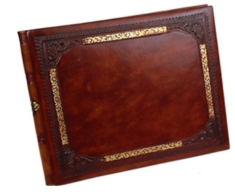 Gold Frame Leather Guest Book - from Italy