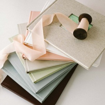 Unlined Guest Books - Natural Linen on top with photo frame - Blue Sky Papers