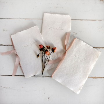 Handmade Paper Vow Books- The Full Set in White with Rose- by Blue Sky Papers