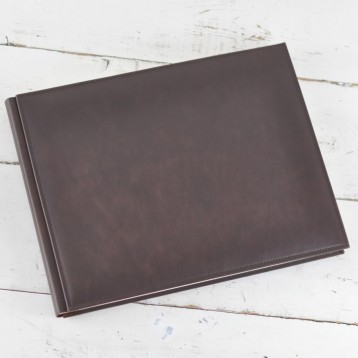 Italian Vintage Leather Guest Book - Brown Leather - from Blue Sky Papers