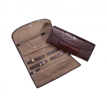 Leather Jewelry Roll - Brown Croco
