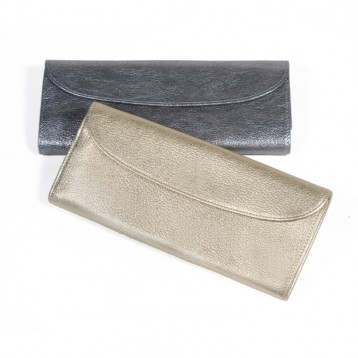 Leather Jewelry Roll - Metallic Silver & Metallic White Gold