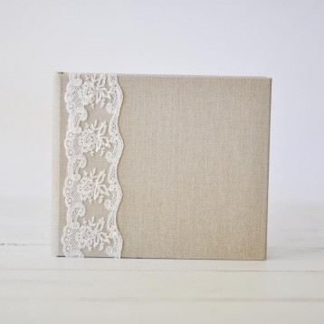 French Lace Custom Book - Natural Linen - Blue Sky Papers